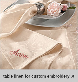 table linens for custom embroidery