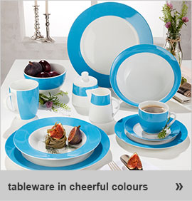 colourful plates, bowls and cups